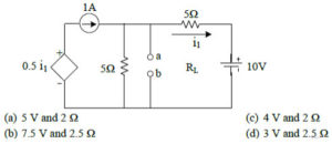 For the circuit shown in the following figure the Thevenin voltage and resistance seen from a, b is?